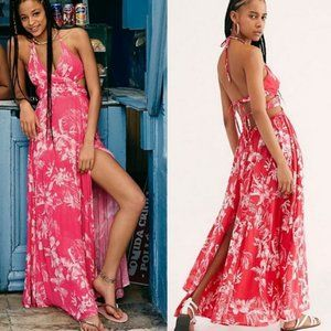 Free People Lille Raspberry Tropical Maxi Dress